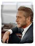 Hand Colored Picture Of Paul Newman Duvet Cover