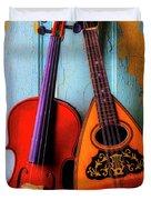Hanging Violin And Mandolin Duvet Cover