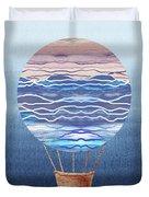 Happy Hot Air Balloon Watercolor Xxvi Duvet Cover