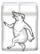 Happy Pig Dancing Drawing Retro Black And White Duvet Cover