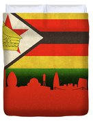 Harare Zimbabwe World City Flag Skyline Duvet Cover