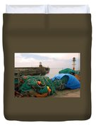 harbour pier and fishings nets at Pittenweem, Fife Duvet Cover