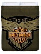 Harley Davidson Old Vintage Logo Fuel Tank Motorcycle Brown Background Duvet Cover