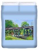 Harrison Park Bridge-ellijay River - Sun Peeking Under Duvet Cover