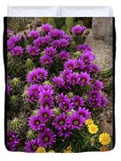Hedgehog Cactus And Yellow Daisies Duvet Cover