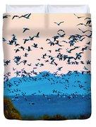 Herd Of Snow Geese In Flight, Soccoro Duvet Cover