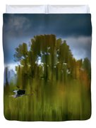 Heron Flying Abstract #h9 Duvet Cover