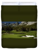 High Angle View Of A Golf Course, Mt Duvet Cover