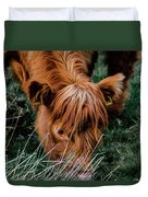 Highland Cow Eating Close Up Duvet Cover by Scott Lyons