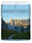Hiker In The Morning Duvet Cover