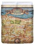 Hiking Map El Camino Spain Map Custom Map Art Duvet Cover