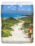 Hiking To Sandfly Bay New Zealand Duvet Cover