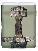 Hilt Of A Viking Sword Found At Hedeby, Denmark, 9th Century Duvet Cover