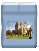 historic Crichton Church and graveyard in Scotland Duvet Cover