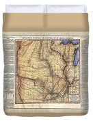 Historical Map Hand Painted Arkansaws Territory Duvet Cover