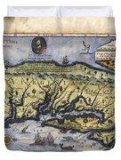 Historical Map Hand Painted Drake Virginia Duvet Cover