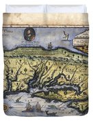 Historical Map Hand Painted Italy Vintage Duvet Cover