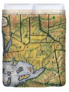 Historical Map Hand Painted Lake Superior Norhern Minnesota Boundary Waters Captain Carver Duvet Cover