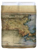 Historical Map Hand Painted Massachussets Duvet Cover