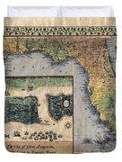 Historical Map Hand Painted St. Augustine Duvet Cover