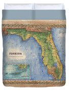 Historical Map Hand Painted Vintage Florida Colton Duvet Cover