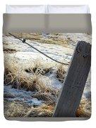 Hoar Frost On A Fence Along Turnagain Arm On The Seward Highway Alaska Duvet Cover