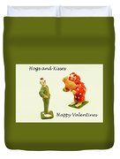 Hogs And Kisses Clown Valentines Duvet Cover