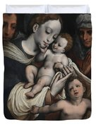 Holy Family With Elisabeth And John The Baptist  Duvet Cover