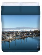 Homer Alaska Fishing Port Duvet Cover