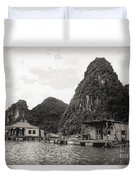 Homes On Ha Long Bay Boat People  Duvet Cover