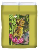 Honey Bee On Mexican Heather Duvet Cover