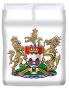 Hong Kong - 1959-1997 Coat Of Arms Over White Leather  Duvet Cover