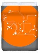 Hong Kong Orange Subway Map Duvet Cover
