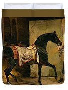 Horse Leaving A Stable Duvet Cover
