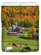 Horses Grazing In Autumn Duvet Cover