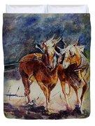 Horses On Work Duvet Cover