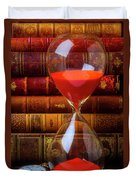 Hourglass And Old Books Duvet Cover