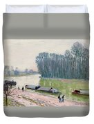 Houseboats On The River Loing Duvet Cover