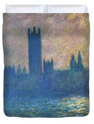 Houses Of Parliament, Sunlight Effect - Digital Remastered Edition Duvet Cover