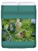 Hummingbird And Monarch Duvet Cover