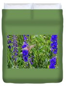 Hummingbird Moth And Larkspur Duvet Cover by Dawn Richards