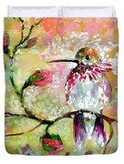 Hummingbird Pink Blossoms Duvet Cover
