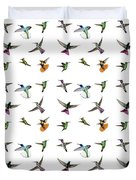 Hummingbirds Of Trinidad And Tobago On White Duvet Cover