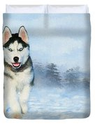 Husky Pup In The Snow - Painting Duvet Cover by Ericamaxine Price