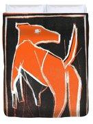 I Was Born In A Mine Orange Dog 33 Duvet Cover