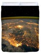 Iberian Peninsula From Space Duvet Cover