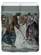 Ice Hockey  Ladies Match On The Lake In Wimbledon Park Duvet Cover