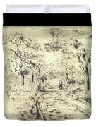In The Fields At Ennery, 1875 Duvet Cover