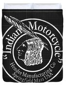 Indian Motorcycle Old Vintage Logo Blueprint Background Duvet Cover
