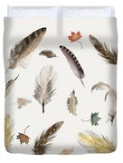Inner Nature Feathers And Leaves Duvet Cover by Bri Buckley